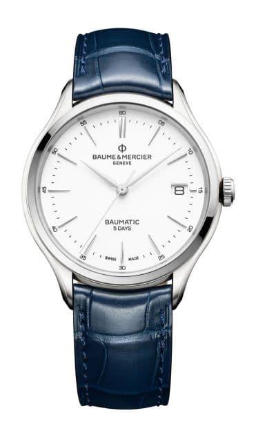 Baume & Mercier: Clifton Baumatic in Edelstahl mit blauem Lederband