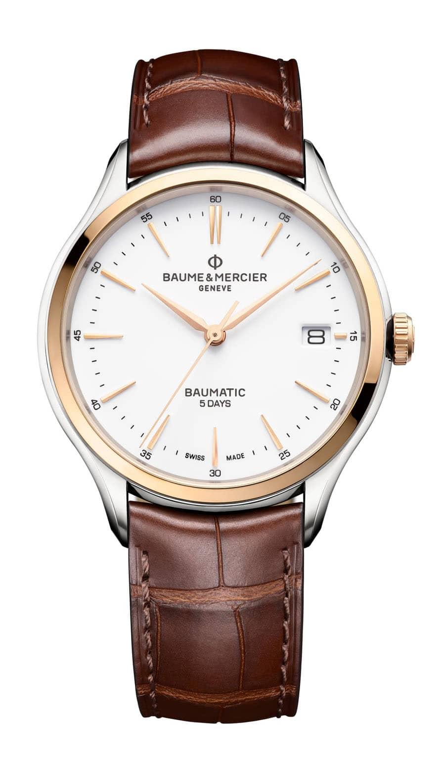 Baume & Mercier: Clifton Baumatic zweifarbig mit braunem Lederband