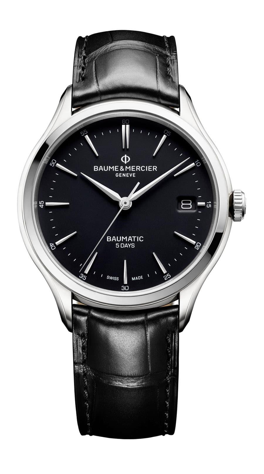 Baume & Mercier: Clifton Baumatic in Edelstahl mit schwarzem Lederband