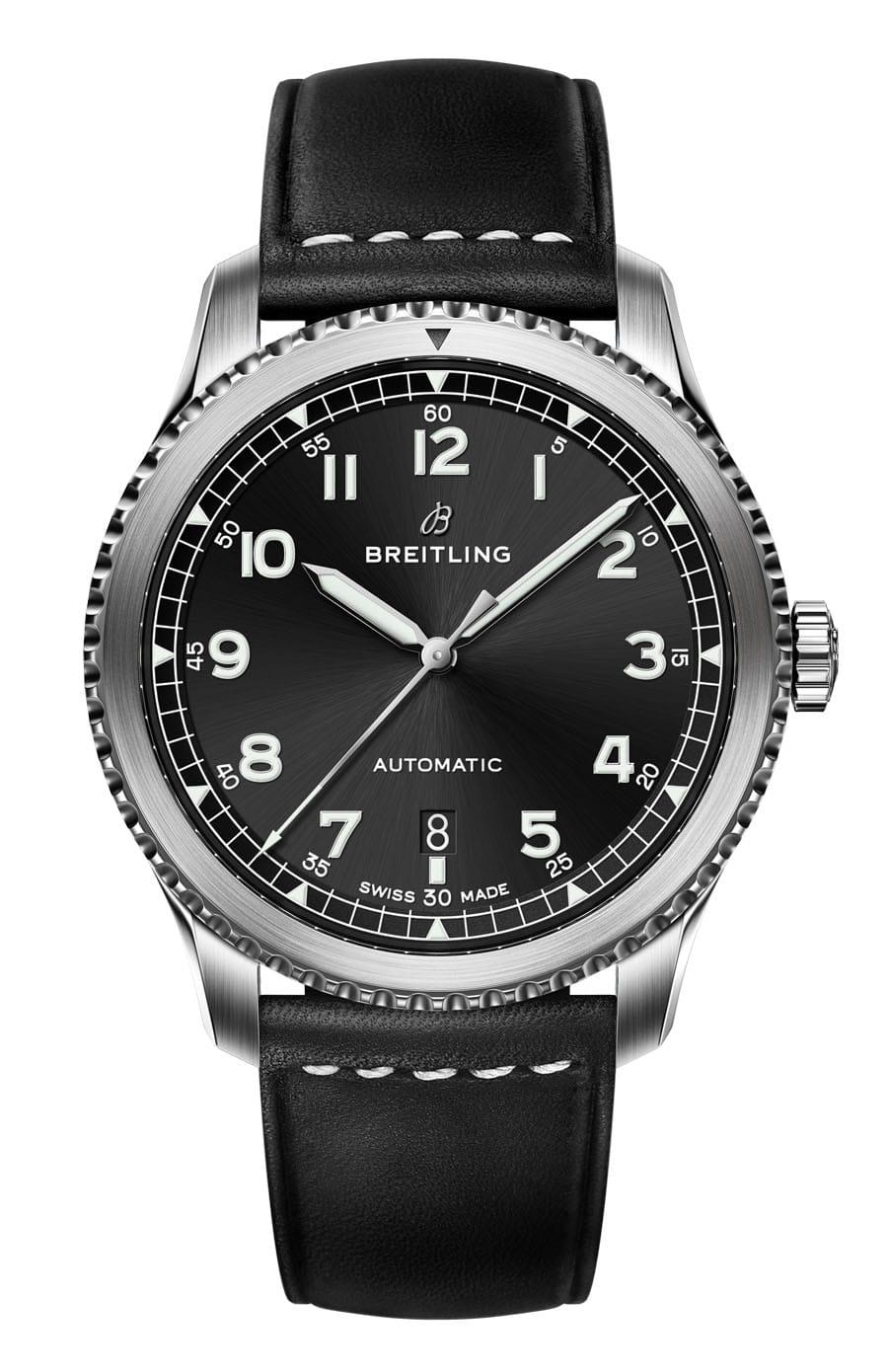 Breitling Navitimer 8 Automatic mit schwarzem Zifferblatt und Lederband