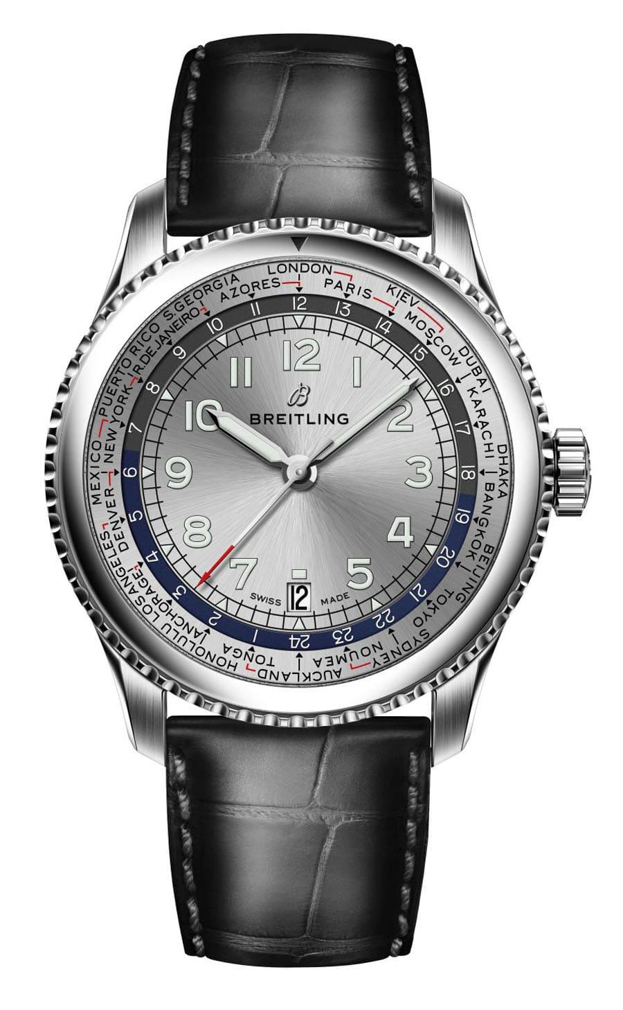Die Breitling Aviator 8 Unitime zeigt die 24 ganzstündigen Standardzeitzonen inklusive etwaiger Sommerzeiten an (Edelstahl, 43 mm, Kaliber B35, Automatik)