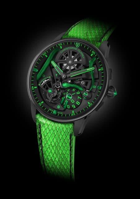 Die Christophe Claret Maestro Mamba besitzt eine extrovertierte Farbgestaltung.
