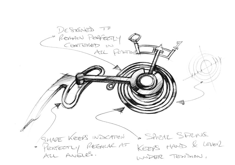 Ferdinand Berthoud: Chronometer FB-1R. 6-1, Skizze der Gangreserveanzeige