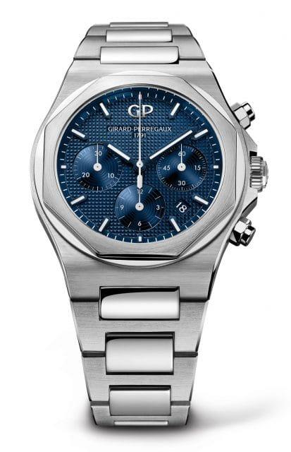 Girard-Perregaux: Laureato Chronograph in Edelstahl und 42 Millimeter mit blauem Zifferblatt