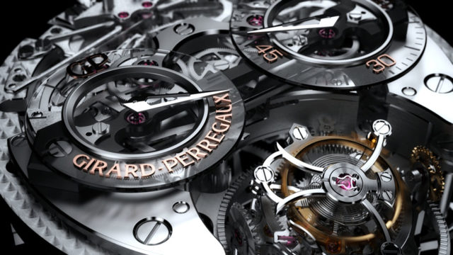 Girard-Perregaux: Blick ins Uhrwerk der Minutenrepetition Tri-Axial Tourbillon