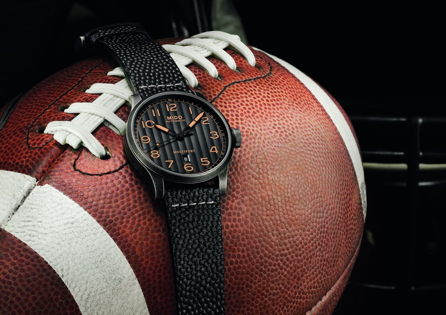 Mido: Multifort Escape Horween Special Edition mit schwarzem Horween-Lederband in Football-Optik