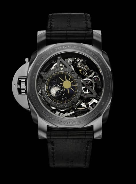Panerai L'Astronomo Luminor 1950 Tourbillon Moon Phases Equation of Time GMT Rückseite