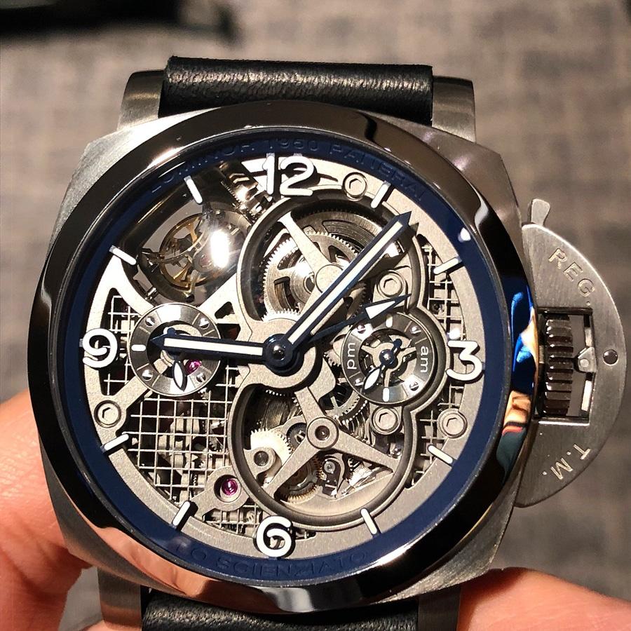 Live-Bild Genfer Uhrensalon SIHH 2018 Panerai Lo Scienziato Luminor 1950 Tourbillon GMT Titanio PAM767 Live-Bild Zifferblatt