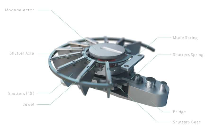 Das photovoltaische Element der Ressence e-Crown öffnet seine Abdeckung nur bei Bedarf.