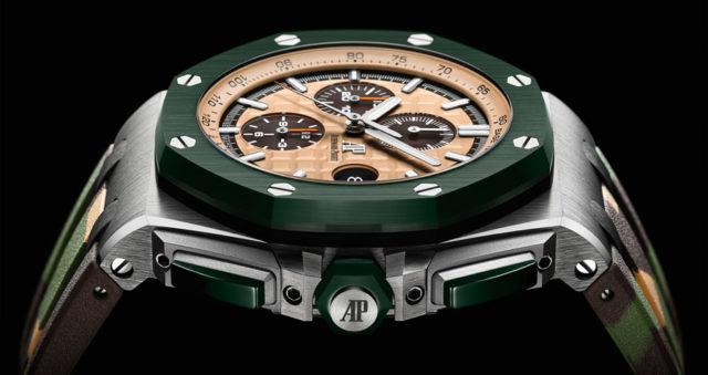 Grün, Beige und Braun sind die bestimmenden Farben des neuen Royal Oak Offshore Chronographen von Audemars Piget