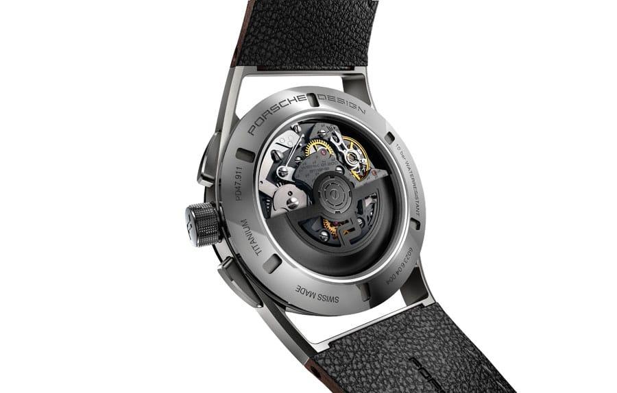 Uhrwerk 01.200 im Porsche Design 1919 Chronotimer Flyback Brown & Leather