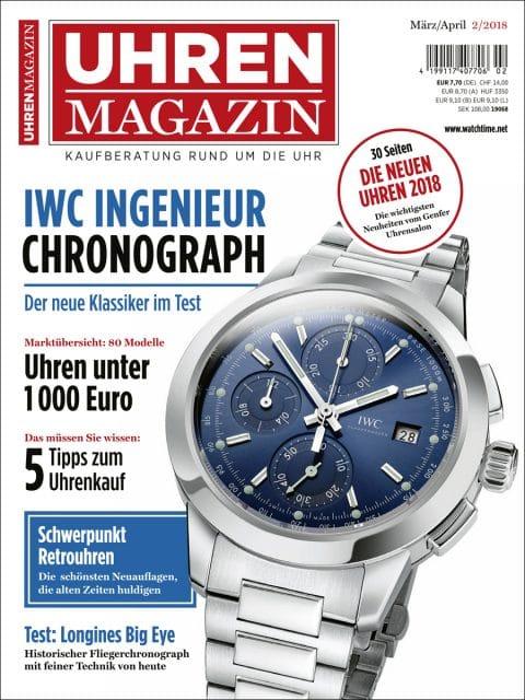 Die aktuelle UHREN-MAGAZIN-Ausgabe 2/2018.