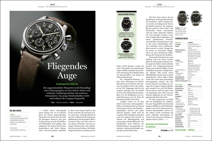 Die Longines Big Eye Avigation im Test bei der UHREN-MAGAZIN-Redaktion.