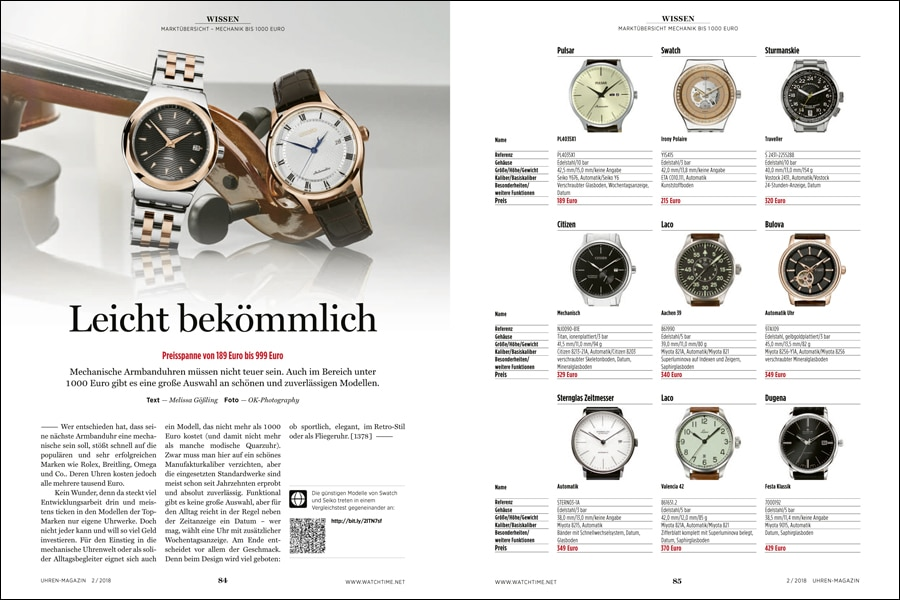 80 Uhren unter 1.000 Euro finden sich mit allen Details in der aktuellen UHREN-MAGAZIN-Marktübersicht.