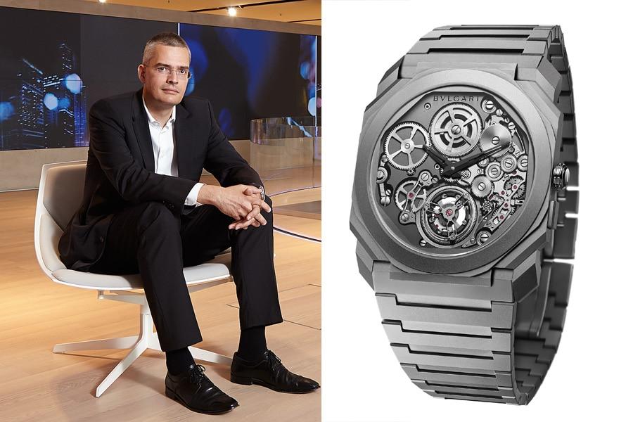 Rüdiger Bucher, Redaktionsdirektor Uhrenmedien und Chefredakteur Chronos, kürt die Bulgari Octo Finissimo Tourbillon Automatik zu seinem Baselfavoriten.