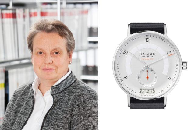 Martina Richter, stellvertretende Chefredakteurin UHREN-MAGAZIN, hat ihren Baselfavoriten, die Nomos Glashütte Autobahn neomatik Datum, bereits getestet.