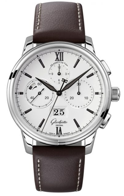 Glashütte Original: Senator Chronograph Panoramadatum am Lederband