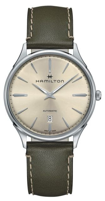 Hamilton: Jazzmaster Thinline Auto mit olivgrünem Lederband