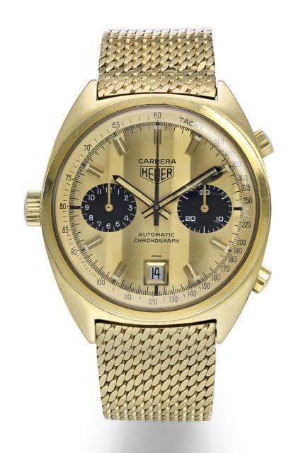 Heuer Carrera Automatikchronograph Referenz 1158 in 18 Karat Gelbgold