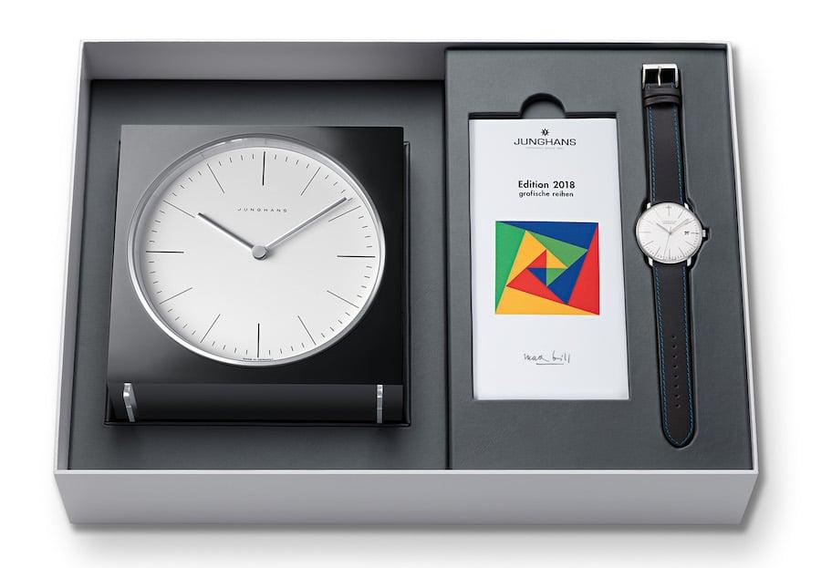 Die Max-Bill-Edition 2018 von Junghans besteht aus einer mechanischen Armband- und einer Tischuhr.