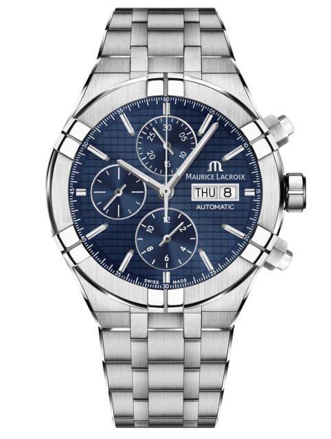 Maurice Lacroix: Aikon Automatic Chronograph mit blauem Zifferblatt und Stahlband