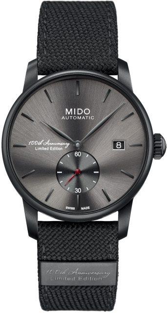 Mit dem Modell 2118 will Mido einen Blick in die Zukunft werfen. Die Edelstahlversion mit schwarzer PVD-Beschichtung kostet 970 Euro.