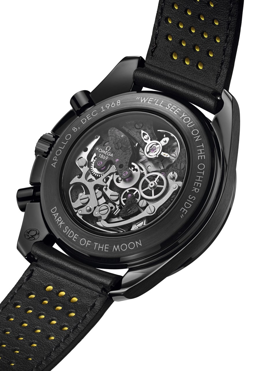 Omega: Speedmaster Dark Side of the Moon Apollo 8 von der Uhrwerkseite aus betrachtet