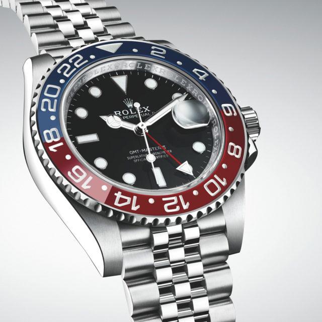 Rolex: Oyster Perpetual GMT-Master II in Edelstahl mit Pepsi-Lünette und Jubilé-Band