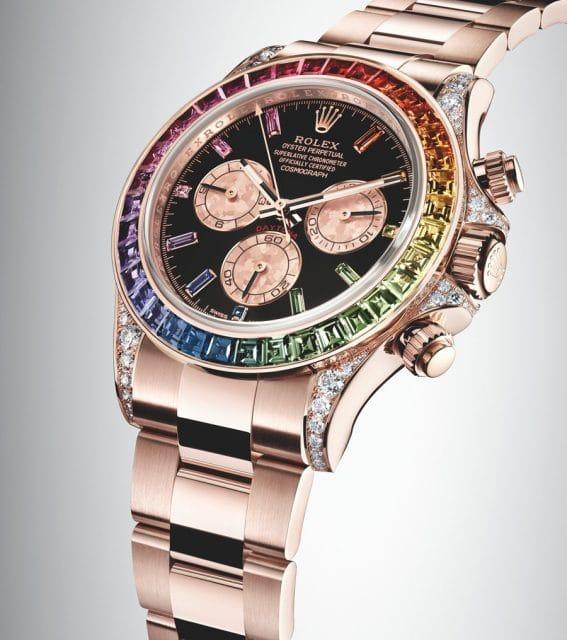 Diamanten schmücken das Gehäuse der Rolex Oyster Perpetual Cosmograph Daytona.