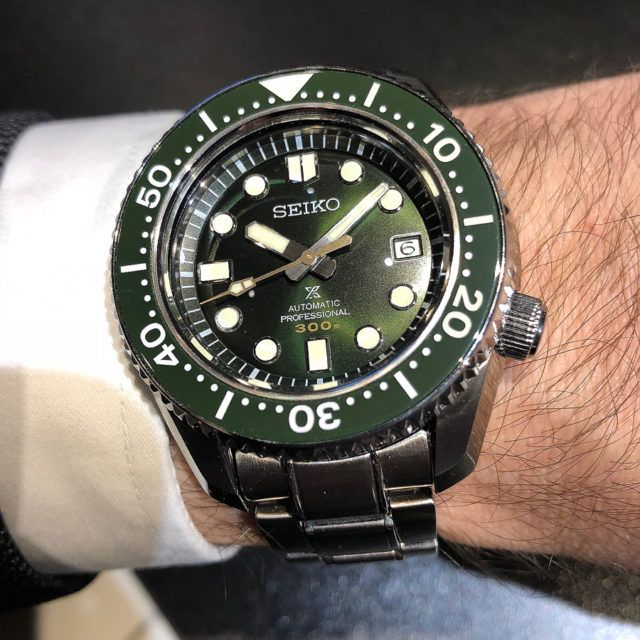 So sieht die Seiko The 1968 Automatic Diver's Commemorative Limited Edition am Handgelenk aus.