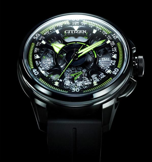 Citizen: Satellite Wave GPS F990 mit grünen Akzenten