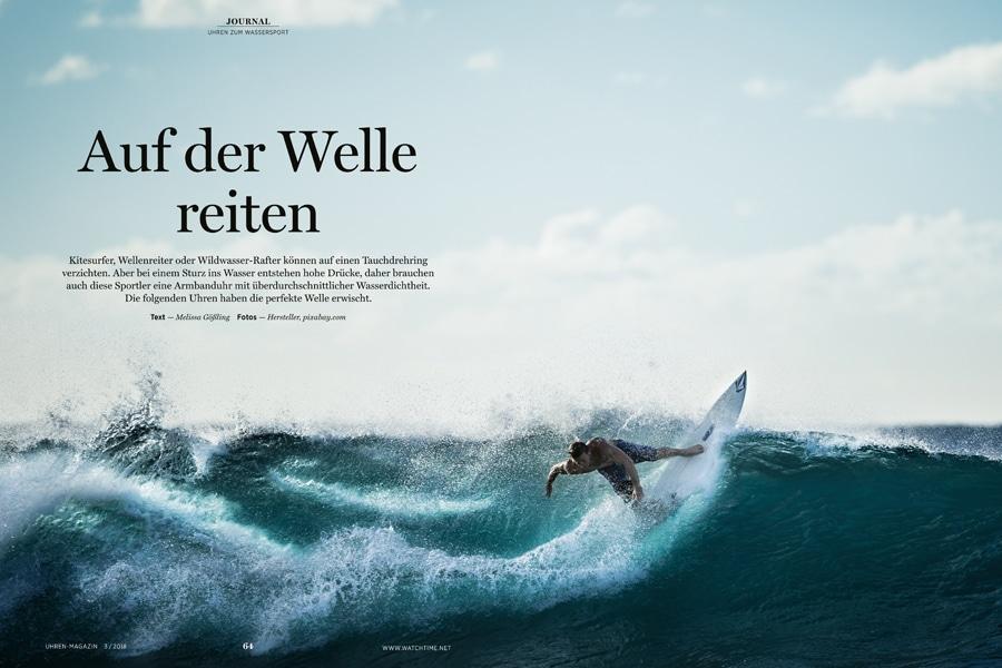 Das Journal Wassersport stellt Uhren in den Mittelpunkt, die einen sorglosen Freizeitspaß versprechen.