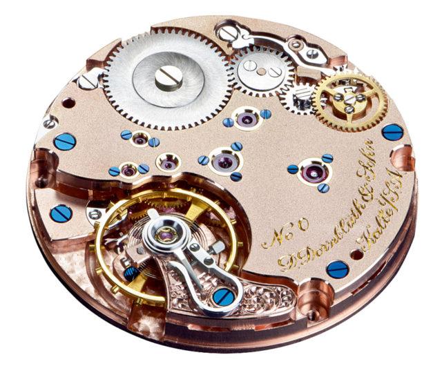 Das selbst entwickelte Handaufzugskaliber Q-2010 von D. Dornblüth & Sohn.