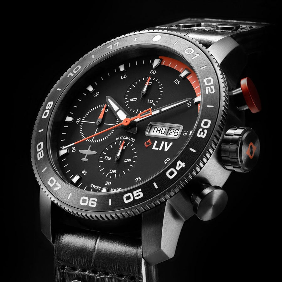 Liv: GX P51 Swiss Auto Chronograph Fliegeruhr