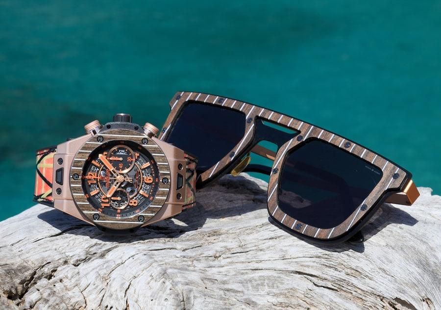 Die Hublot Big Bang Unico Teak Italia Independent kommt mit einer Sonnenbrille von Italia Independent