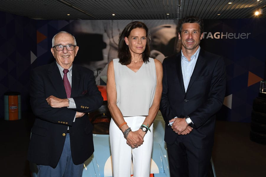 Der Erfinder der Heuer Monaco, Jack Heuer (l.), Prinzessin Stephanie von Monaco und Patrick Dempsey, Schauspieler und Markenbotschafter von TAG Heuer, erschienen zur Vorstellung des limitierten Chronographen