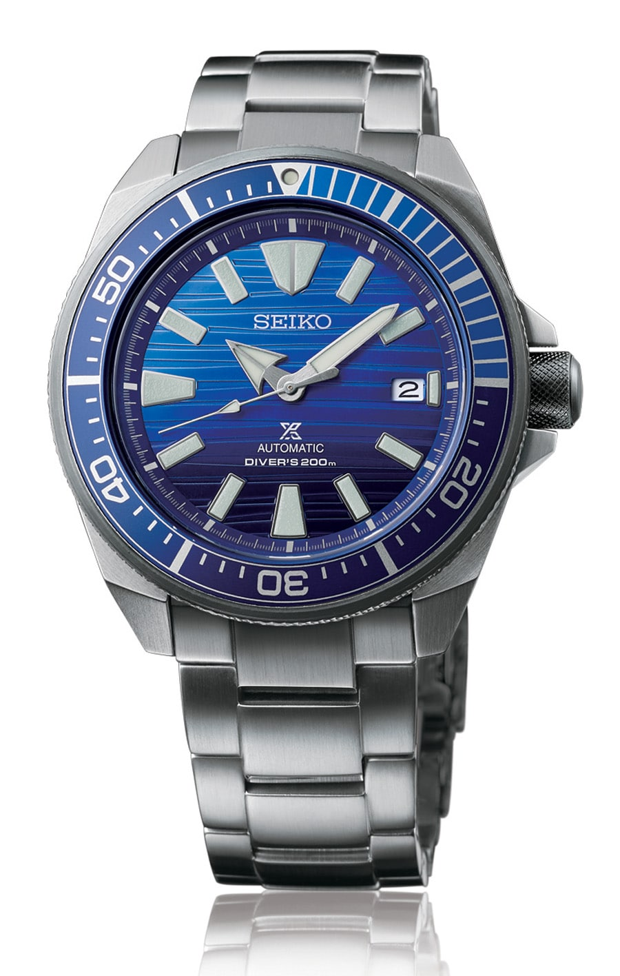Seiko: Prospex Save the Ocean Automatic Diver's Special Edition mit Edelstahlband.