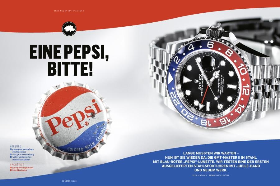"""In Chronos 05.2018 getestet: eine der ersten in ausgelieferten Rolex GMT-Master II mit """"Pepsi""""-Lünette"""
