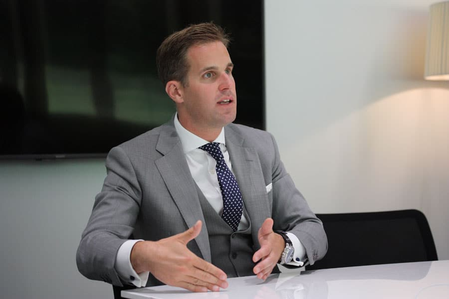 IWC-CEO Christoph Grainger-Herr bei der Eröffnung des IWC Manufakturzentrums am 28.8.2018