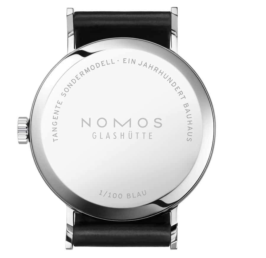 Nomos Glashütte: Tangente Bauhaus mit Limitierungsnummer im Stahlboden
