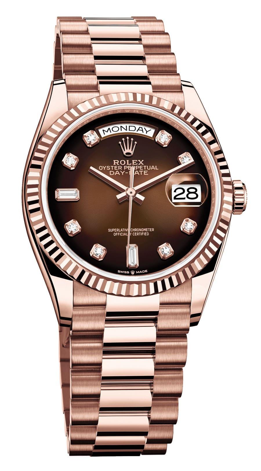 Rolex: Oyster Perpetual Day-Date 36 Everose mit braunem Ombré-Zifferblatt