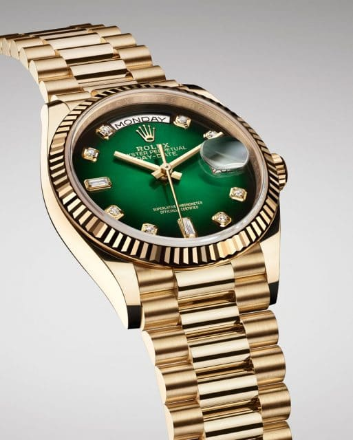 Rolex: Oyster Perpetual Day-Date 36 Gelbgold mit grünem Ombré-Zifferblatt
