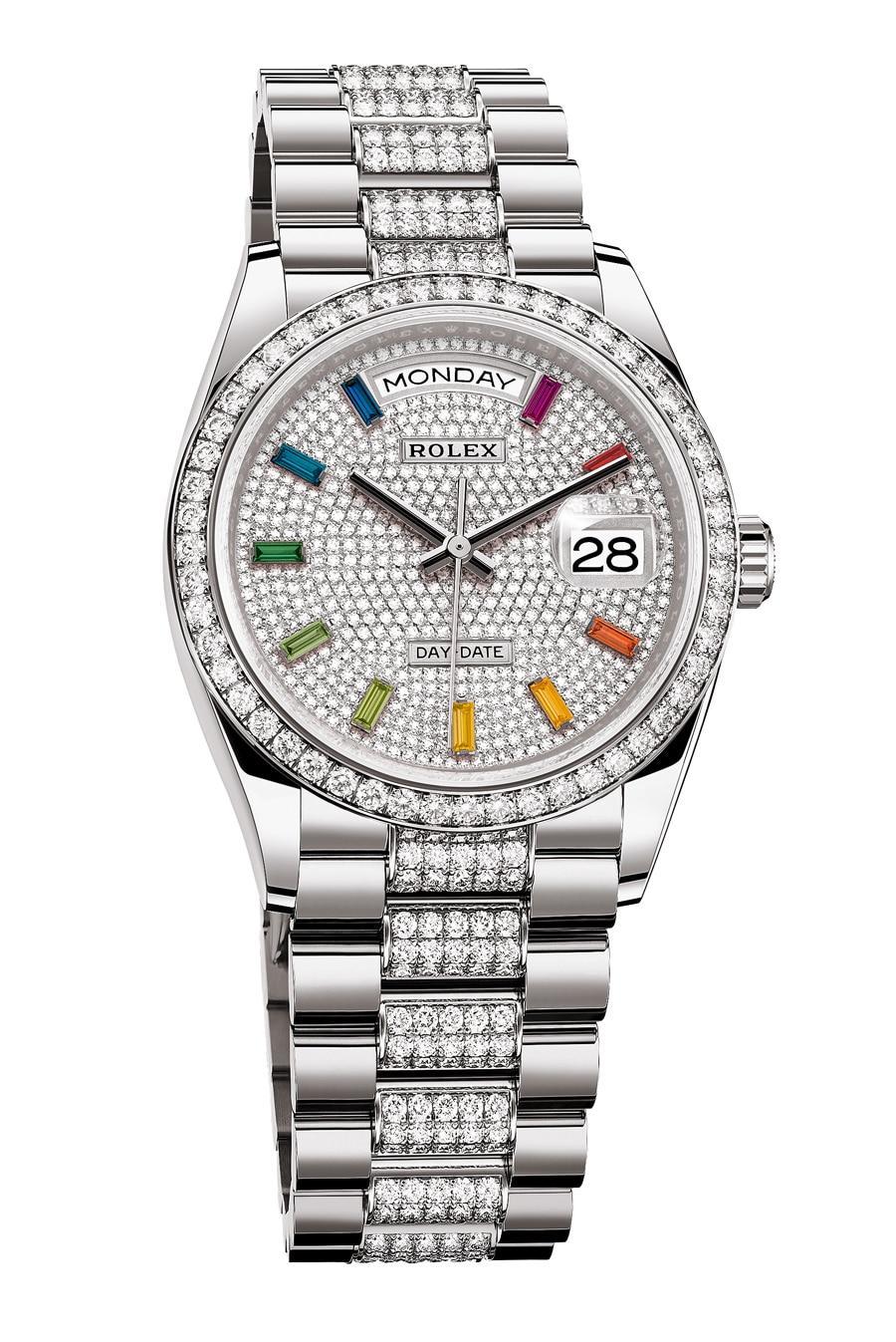 Rolex: Oyster Perpetual Day-Date 36 Weißgold mit Diamantpavé-Zifferblatt