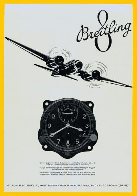 Breitling-Anzeige von 1941 mit der Borduhr 634