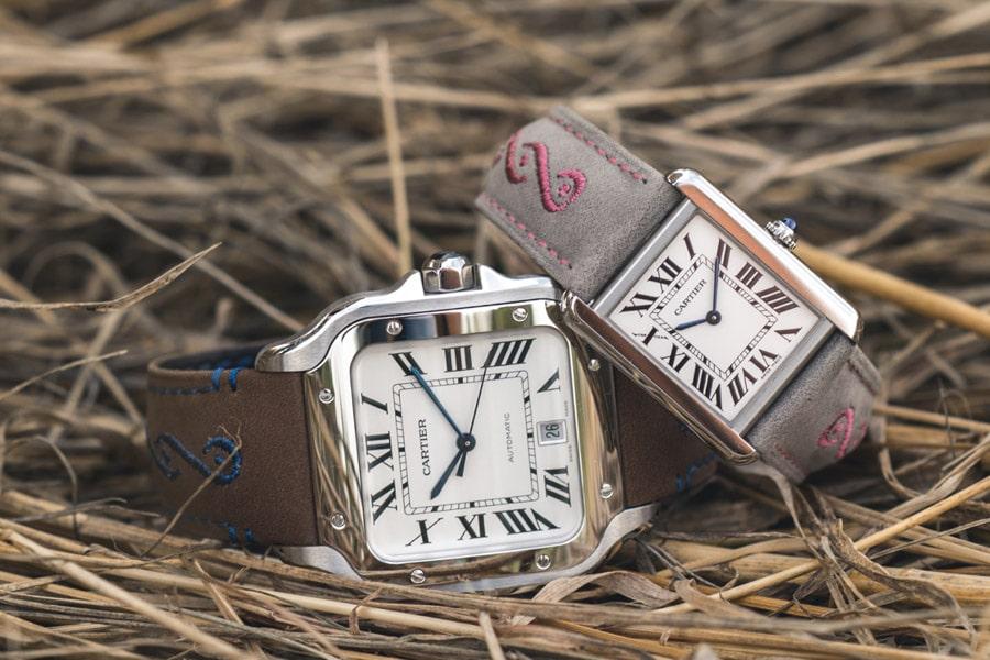 Cartier-Armbänder in Trachtenoptik für die Santos de Cartier und die Tank