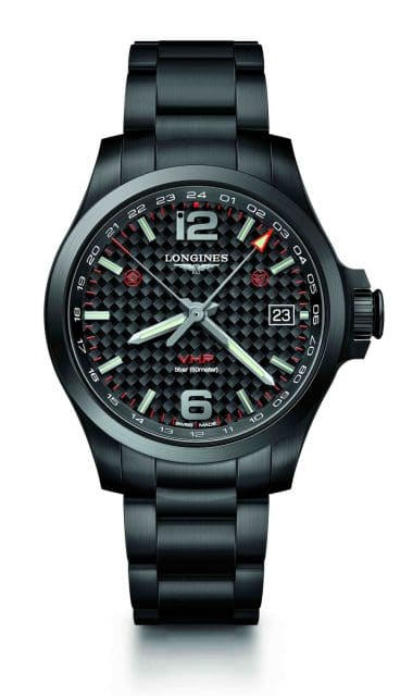 Longines: Conquest V.H.P. GMT Flash Setting, 41 Millimeter, schwarz PVD-beschichtet
