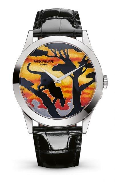 """""""Leopard im Sonnenuntergang"""": Patek Philippe: Ref. 5089G-078, gestaltet in Cloisonné-Email"""