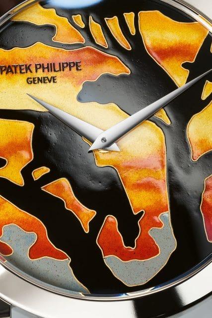 """Patek Philippe: Detail der Ref. 5089G-078 """"Leopard im Sonnenuntergang"""""""
