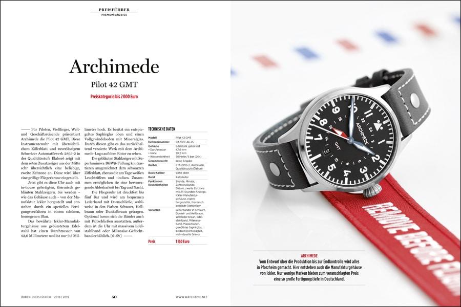 Premiumeintrag Archimede: Fliegeruhr mit zweiter Zeitzone und Manufakturgehäuse