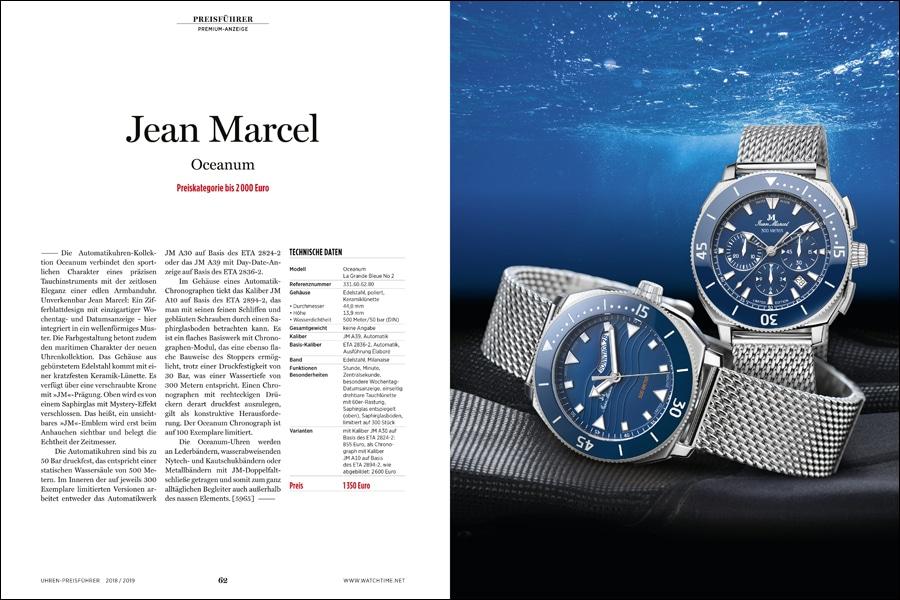 Premiumeintrag Jean Marcel: Kollektion Oceanum mit besonderer Tag/Datum-Darstellung